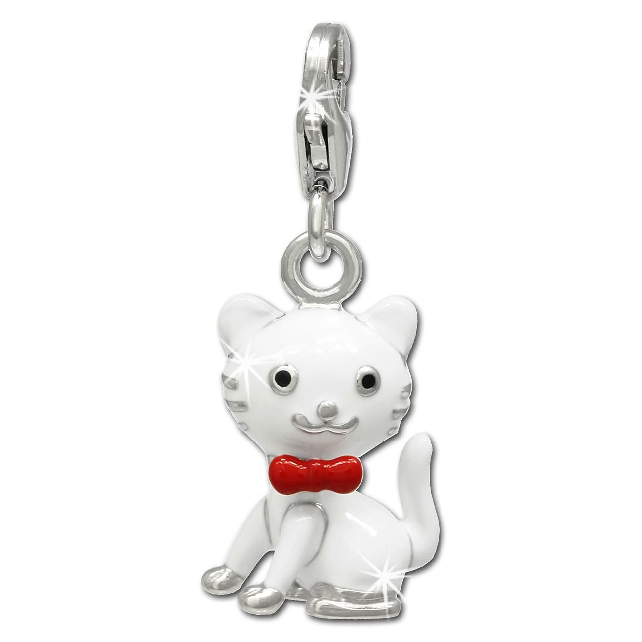 SilberDream Charm Kätzchen weiß 925er Silber Armband Anhänger FC693