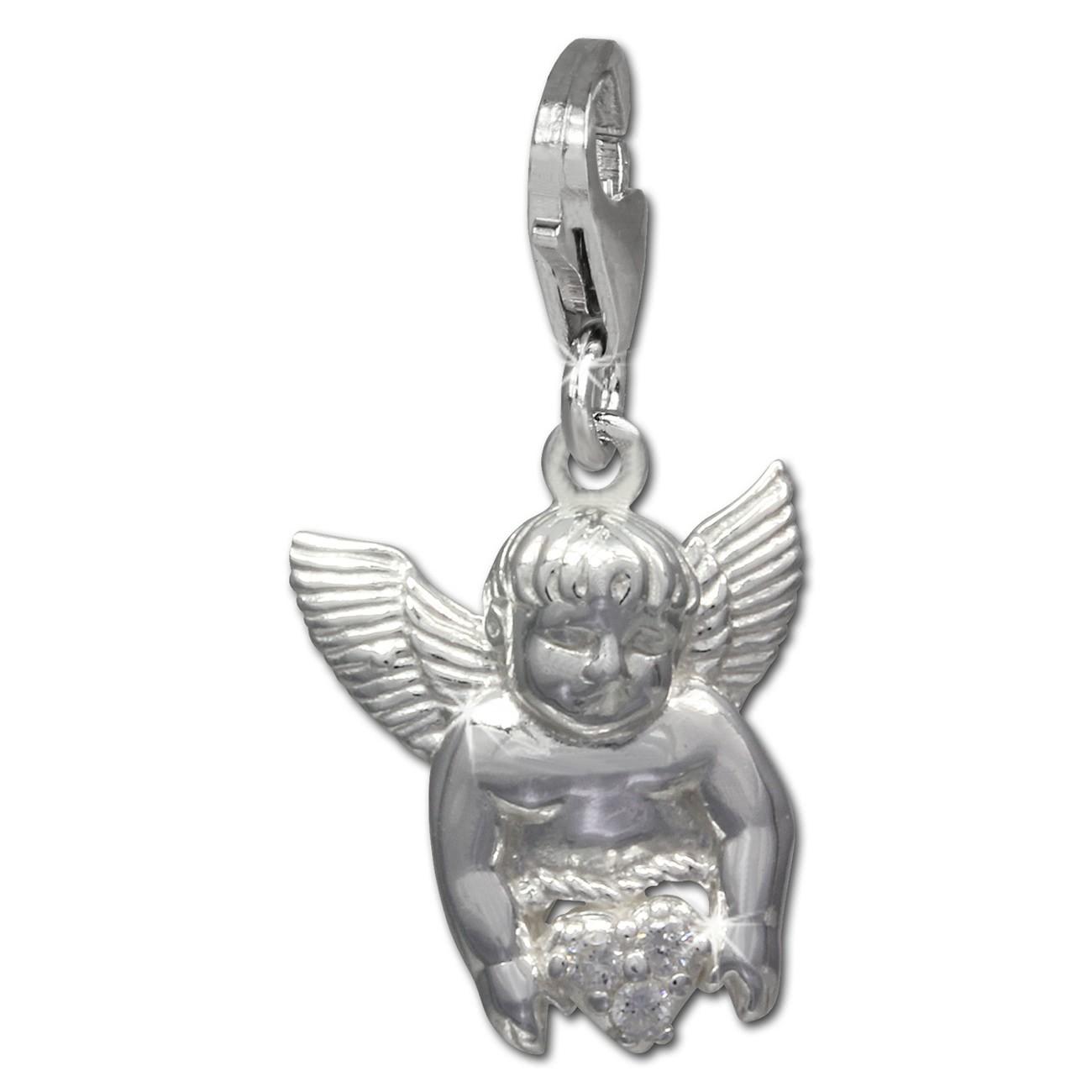 SilberDream Charm Engel mit Herz 925 Silber Armband Anhänger FC734W