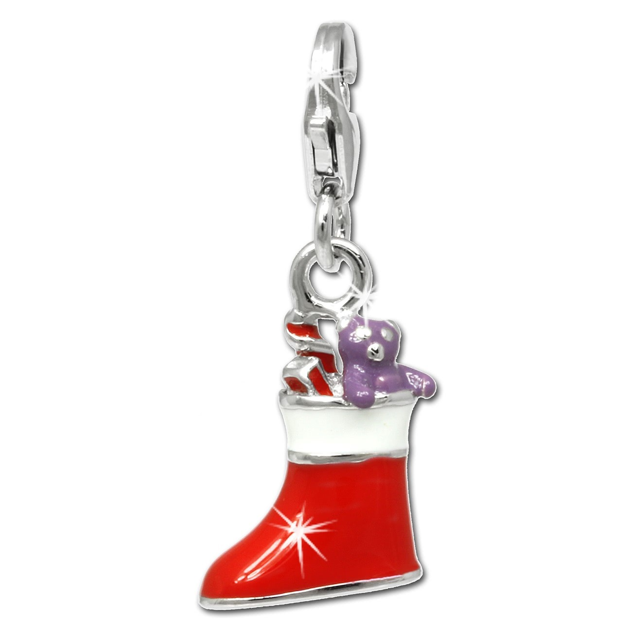 SilberDream Charm Weihnachtsstiefel 925 Silber Armband Anhänger FC810R