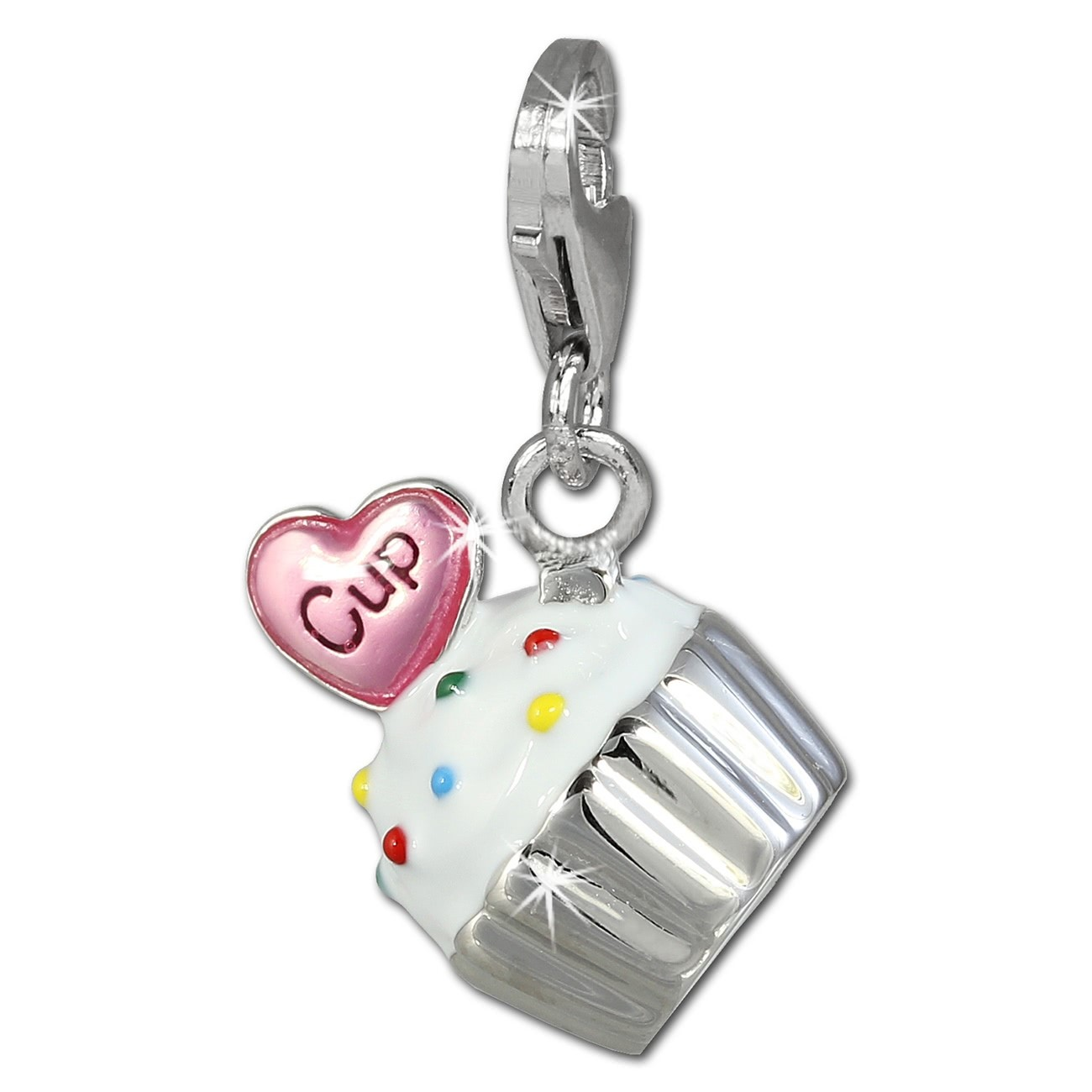 SilberDream Charm Kuchen Cupcake weiß 925er Armband Anhänger FC815W