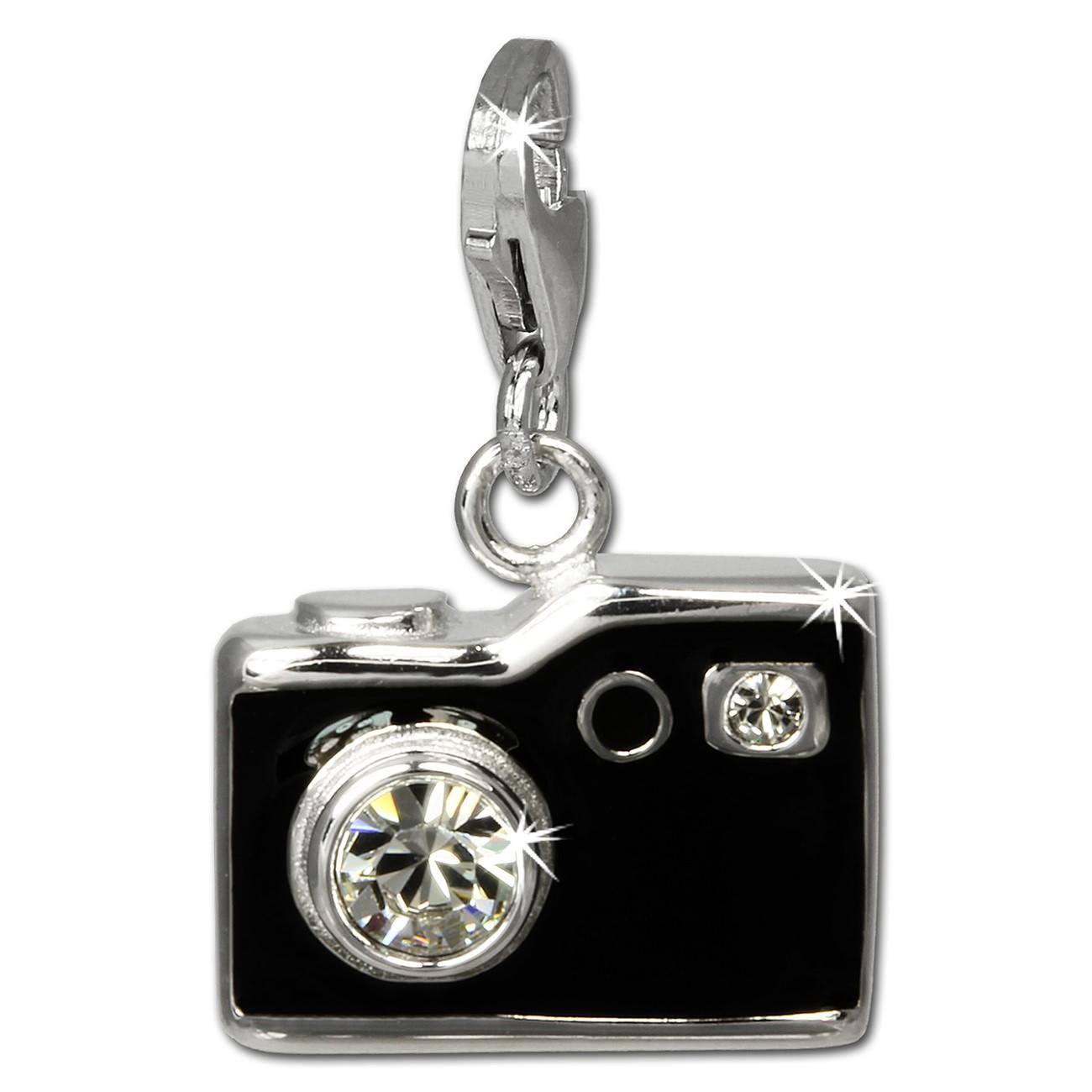 SilberDream Charm Fotoapparat schwarz 925er Armband Anhänger FC819S