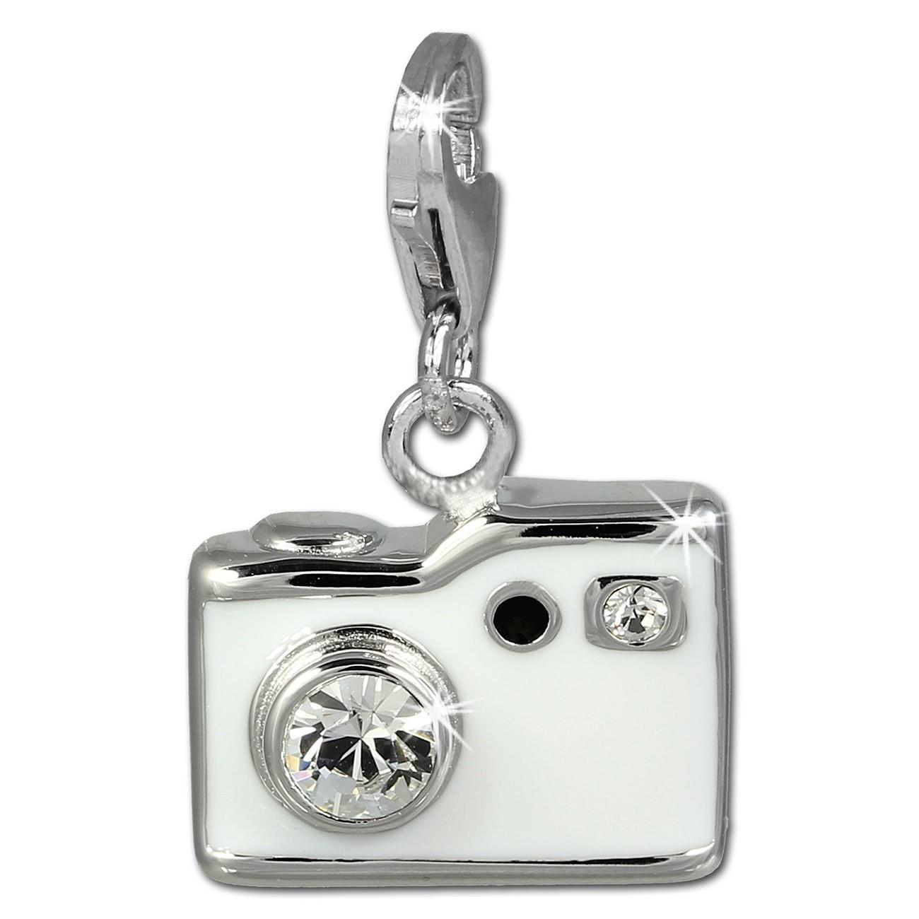 SilberDream Charm Fotoapparat weiß 925er Armband Anhänger FC819W