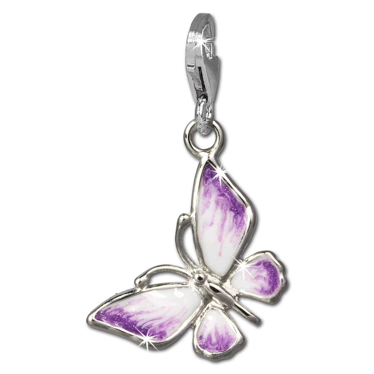 SilberDream Charm Schmetterling lila/weiß 925 Armband Anhänger FC825V