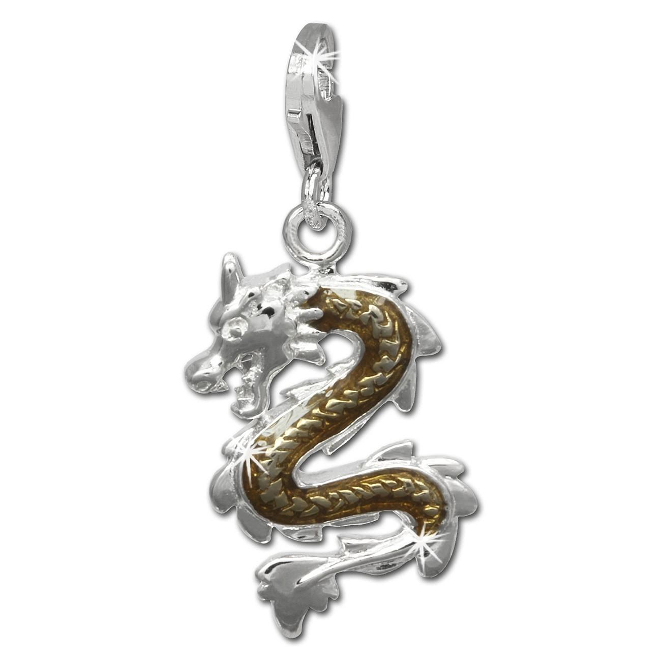 SilberDream Charm Drache 925er Silber Armband Anhänger FC834N