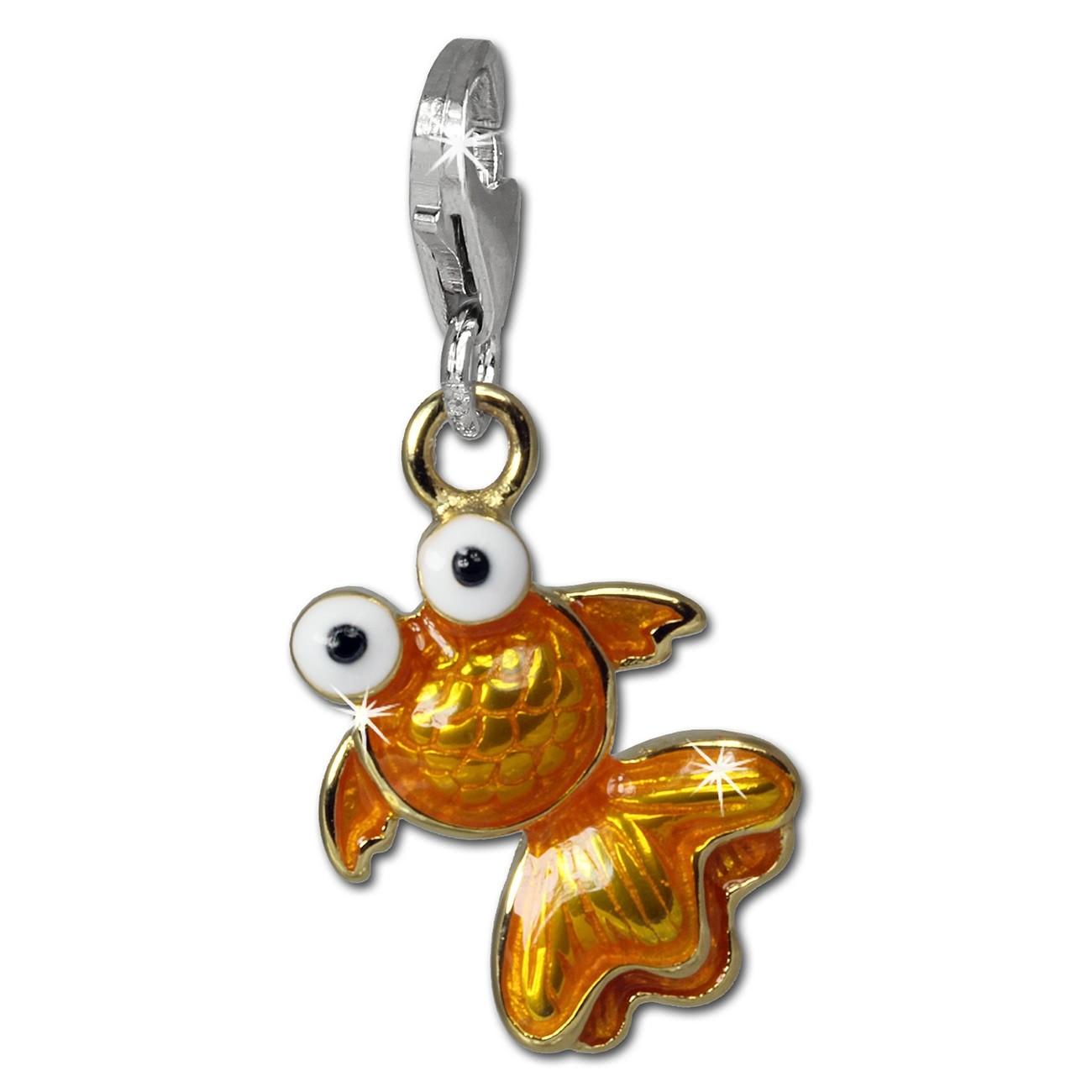 SilberDream Charm Kleiner Fisch orange 925er Armband Anhänger FC835O