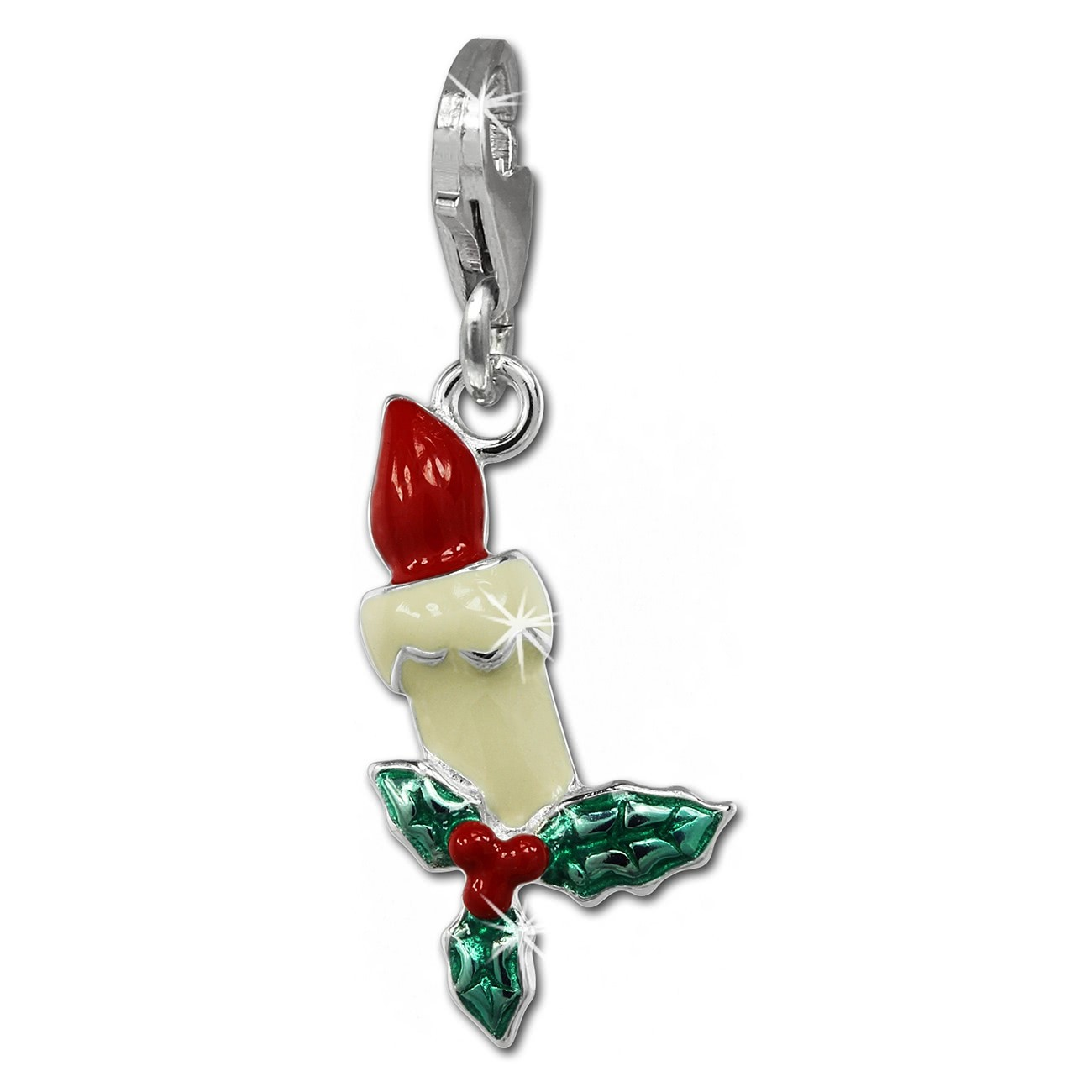 SilberDream Charm Weihnachtskerze 925er Silber Armband Anhänger FC847W