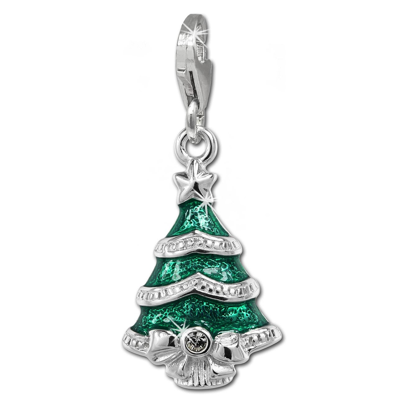 SilberDream Charm Weihnachtsbaum 925 Silber Armband Anhänger FC849G