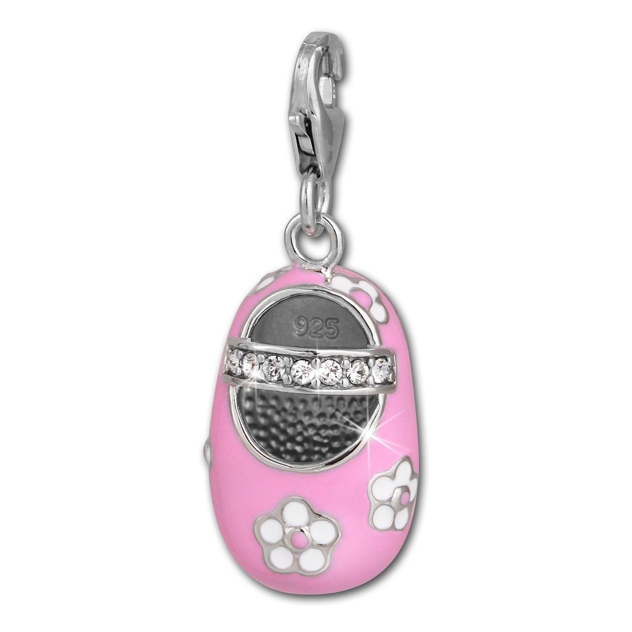 SilberDream Charm Mädchenschuh Blume rosa 925 Silber Armband Anhänger FC853P