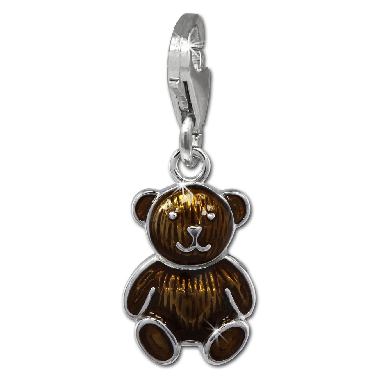 SilberDream Charm Teddybär braun 925er Silber Armband Anhänger FC855N