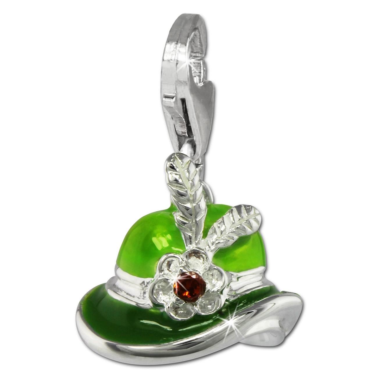 SilberDream Charm Damenhut grün 925er Silber Armband Anhänger FC861L