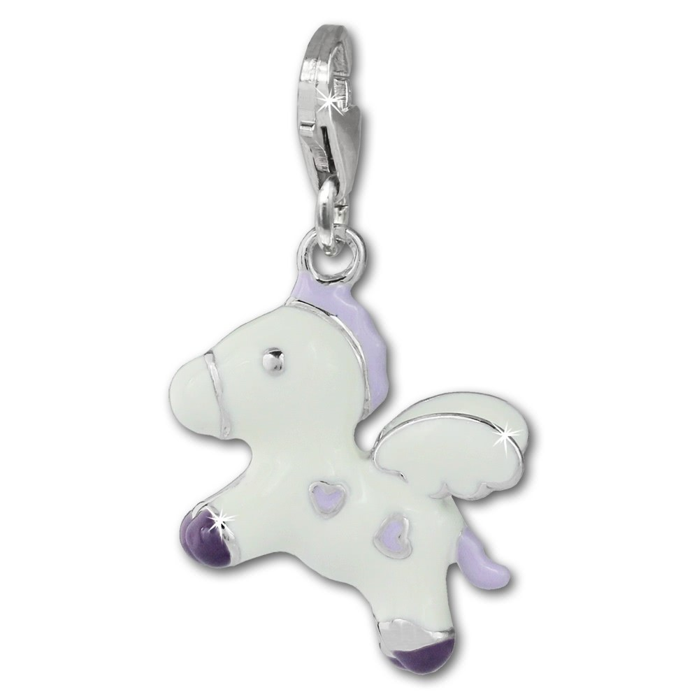 SilberDream Charm fliegendes Pony weiß 925 Silber Armband Anhänger FC869W