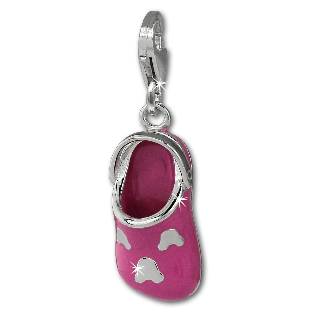 SilberDream Charm Clog Schlappen pink 925 Silber Armband Anhänger FC871P