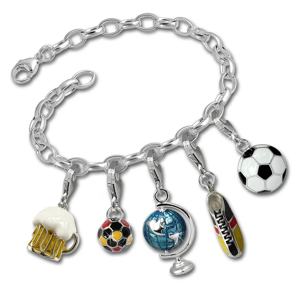 SilberDream Armband 925 Silber Charmsset Fußballfieber Anhänger FCA042