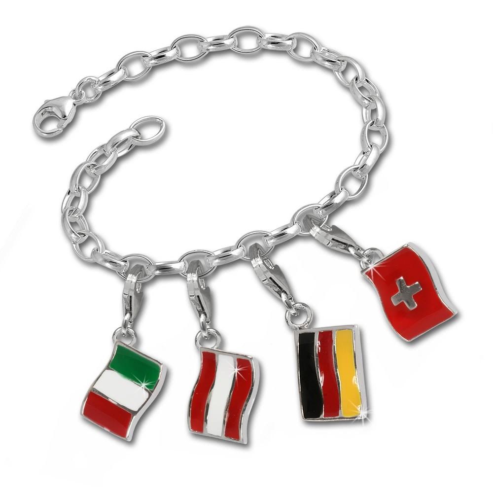 SilberDream Silber Charms Flaggen-Set Angebot Fahnen Anhänger FCA056