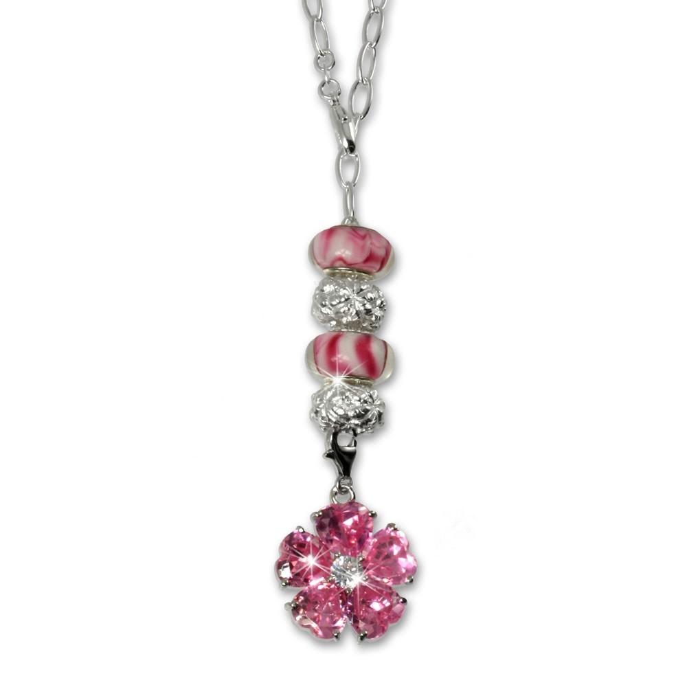SilberDream 925 Silber Charms Set Frühling pink Anhänger FCA057