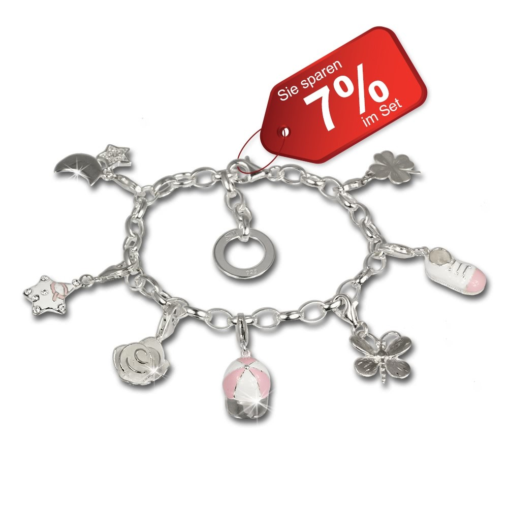 SilberDream 925 Charm Fun rosa 925 Sterling Silber Charms Armband Set FCA126