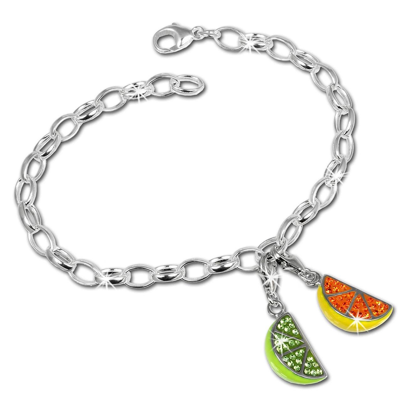 SilberDream Charm Glitzerset Obst 925er Silber Armband Anhänger FCA143