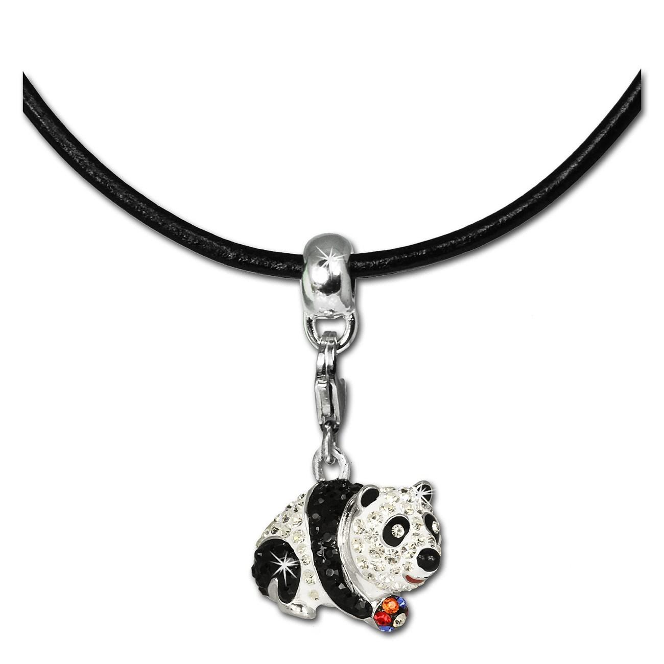 SilberDream Kette Glitzerset Panda 925er Lederkette + Anhänger FCA147