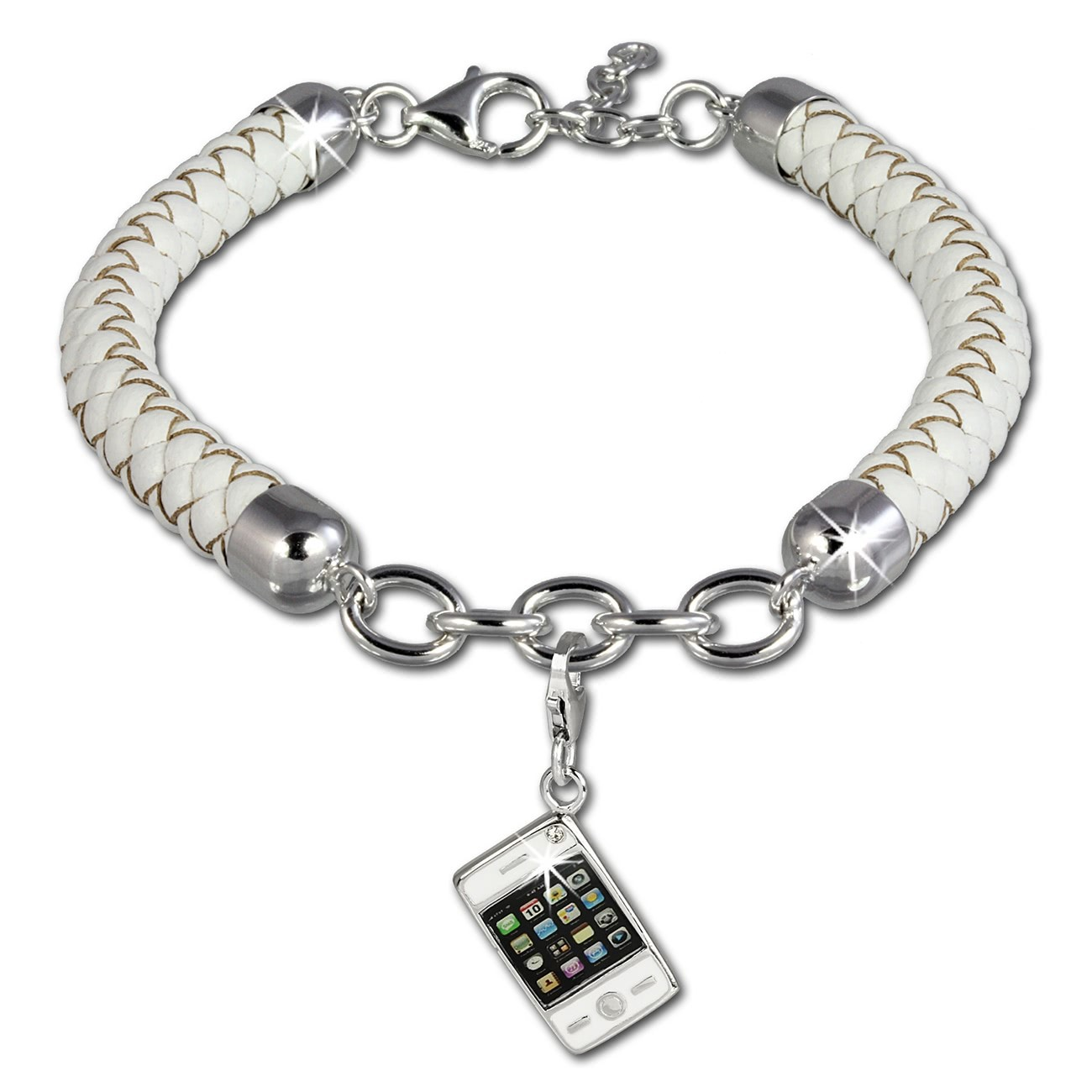 SilberDream Geschenkset Handy Charm mit Lederarmband 925 Silber FCA154