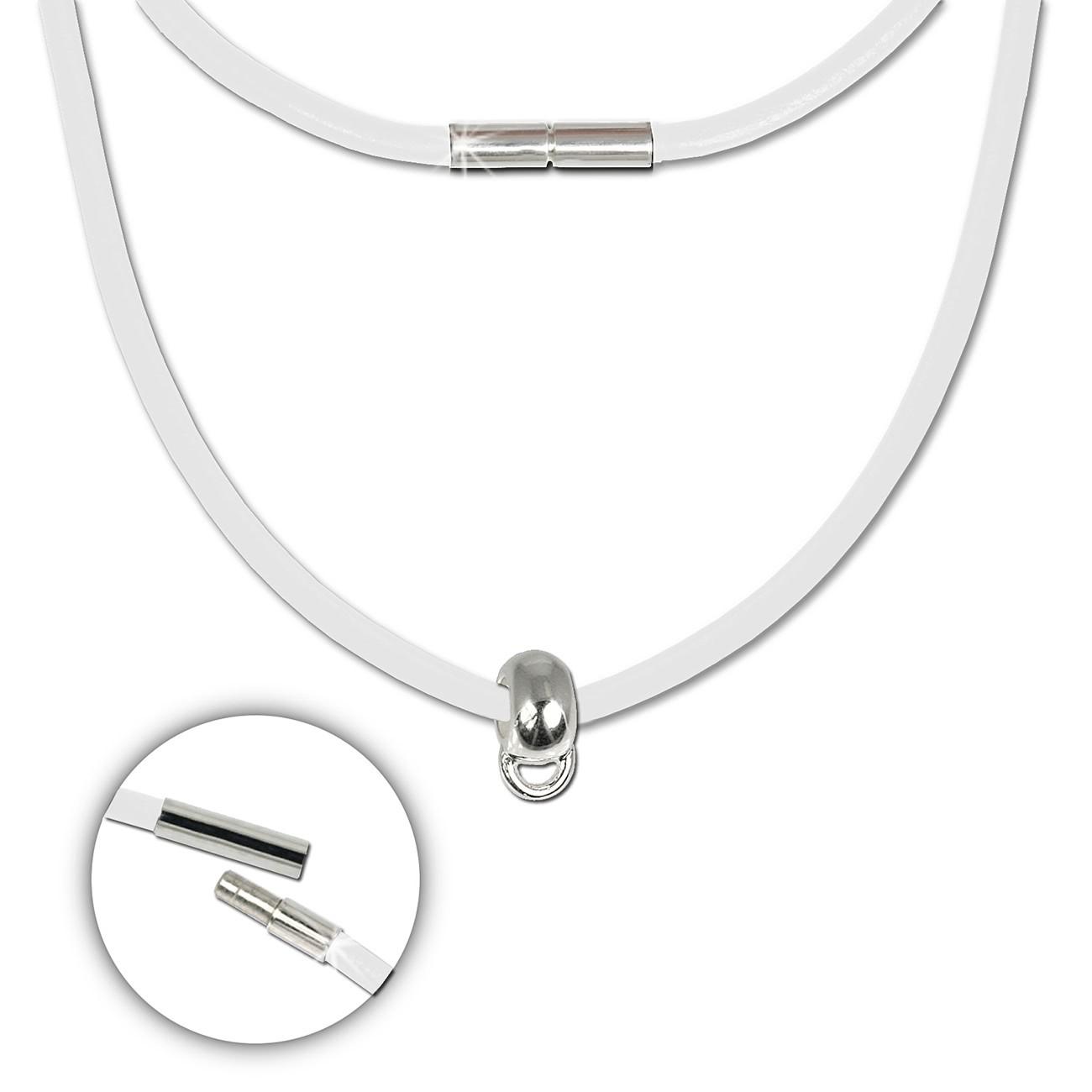 SilberDream Leder Kette weiß mit Charms-Verbinder 925er Silber FCA158