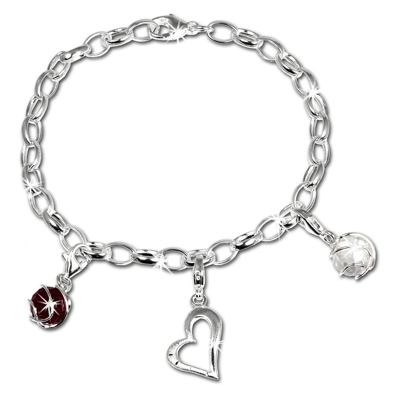 SilberDream Charm Set Liebe 925er Silber Armband Anhänger FCA300