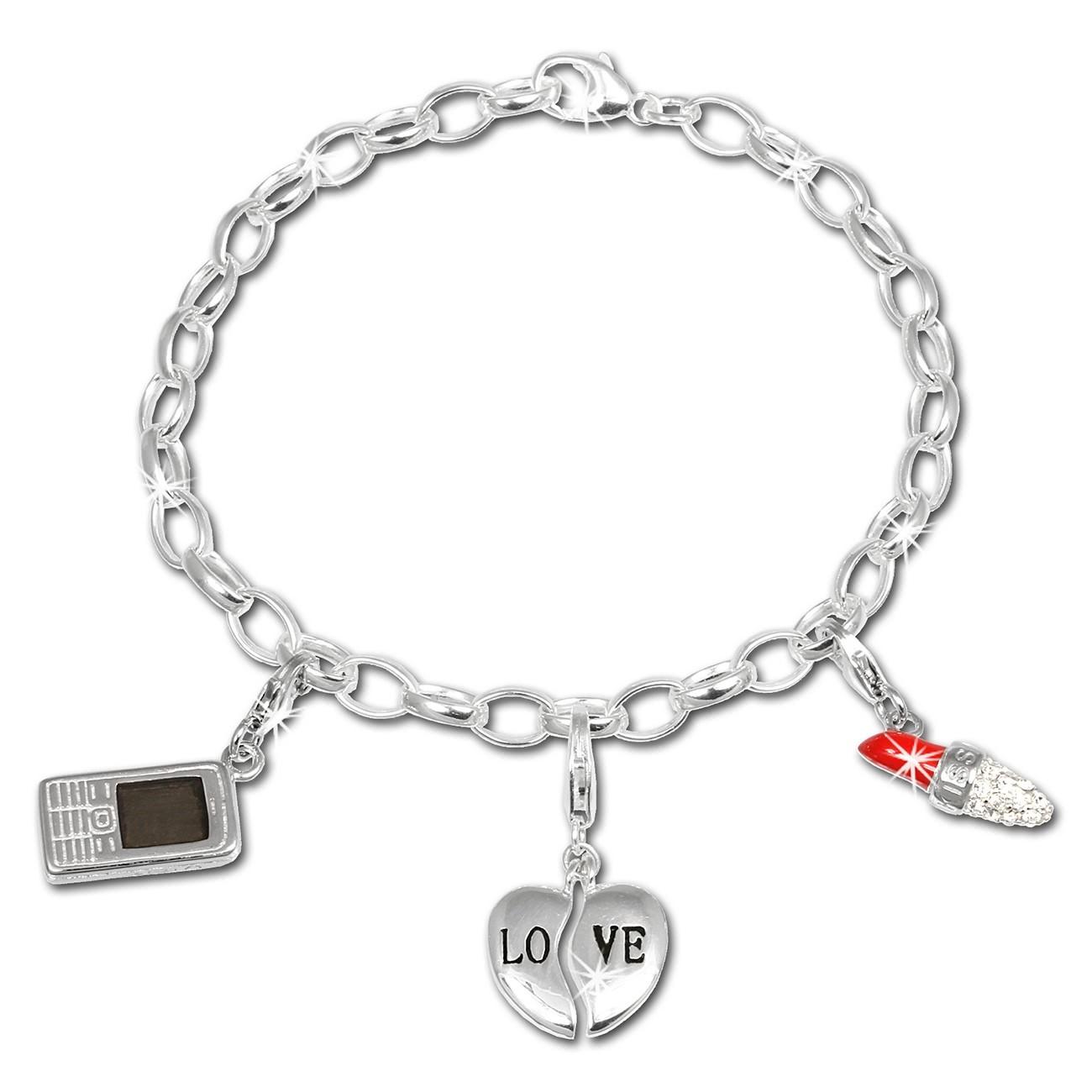 SilberDream Charm Set Love 925er Silber Armband Anhänger FCA308