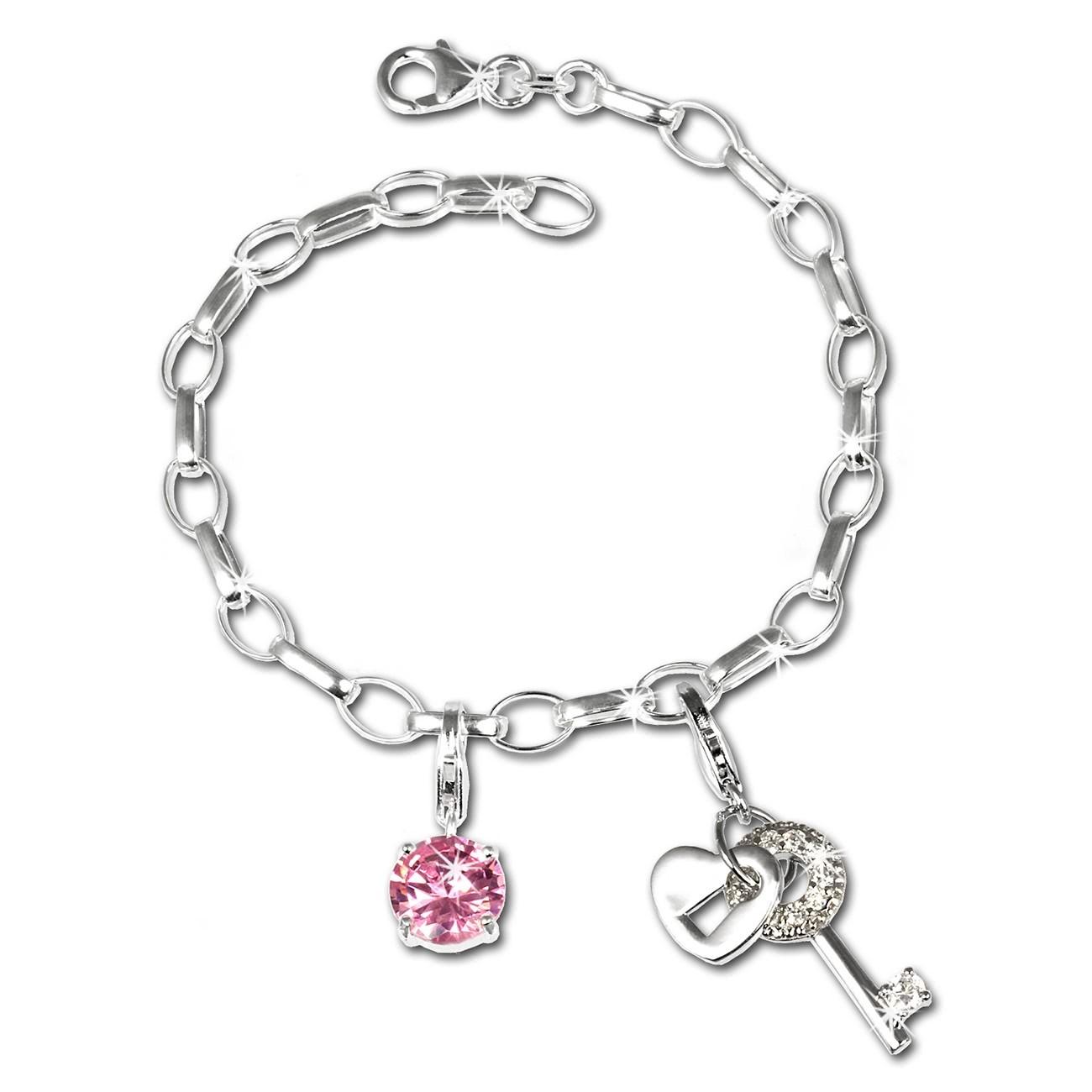 SilberDream Charm Set Schlüssel 925er Silber Armband Anhänger FCA310