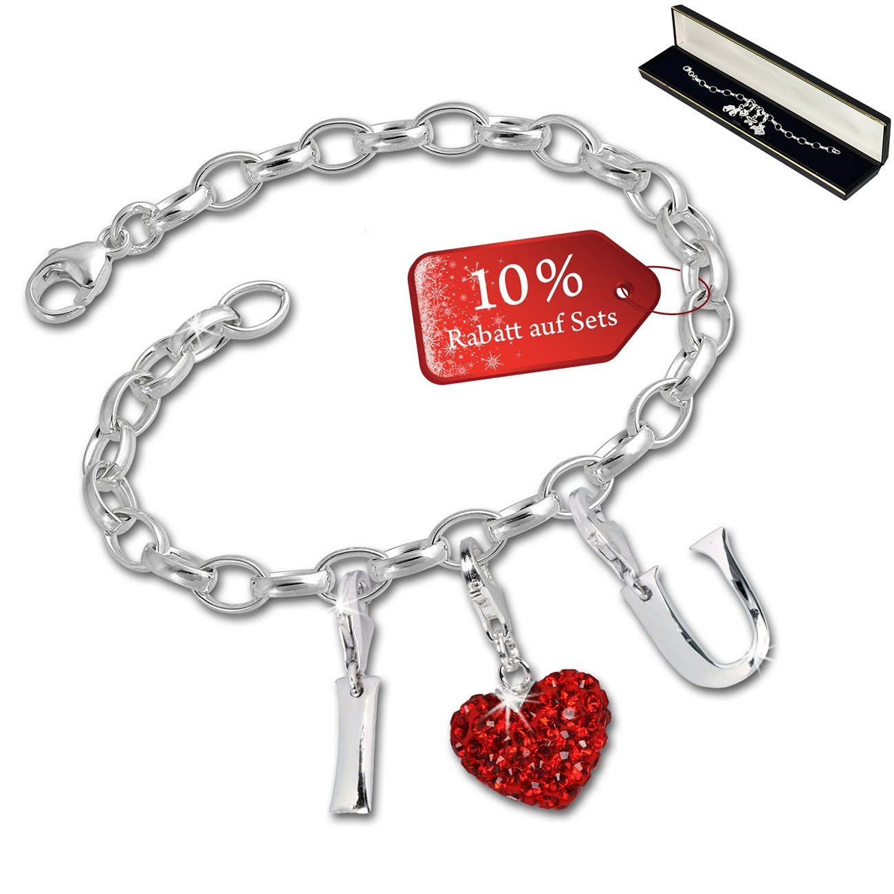 SilberDream Armband Fashion Charm Set I Love You 925 Anhänger FCA315