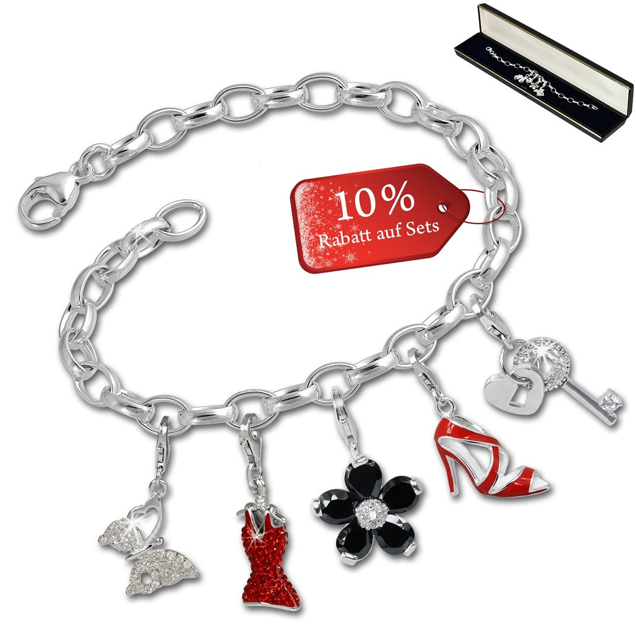 SilberDream Armband Fashion Charm Set Red High Heels 925 Anhänger FCA317