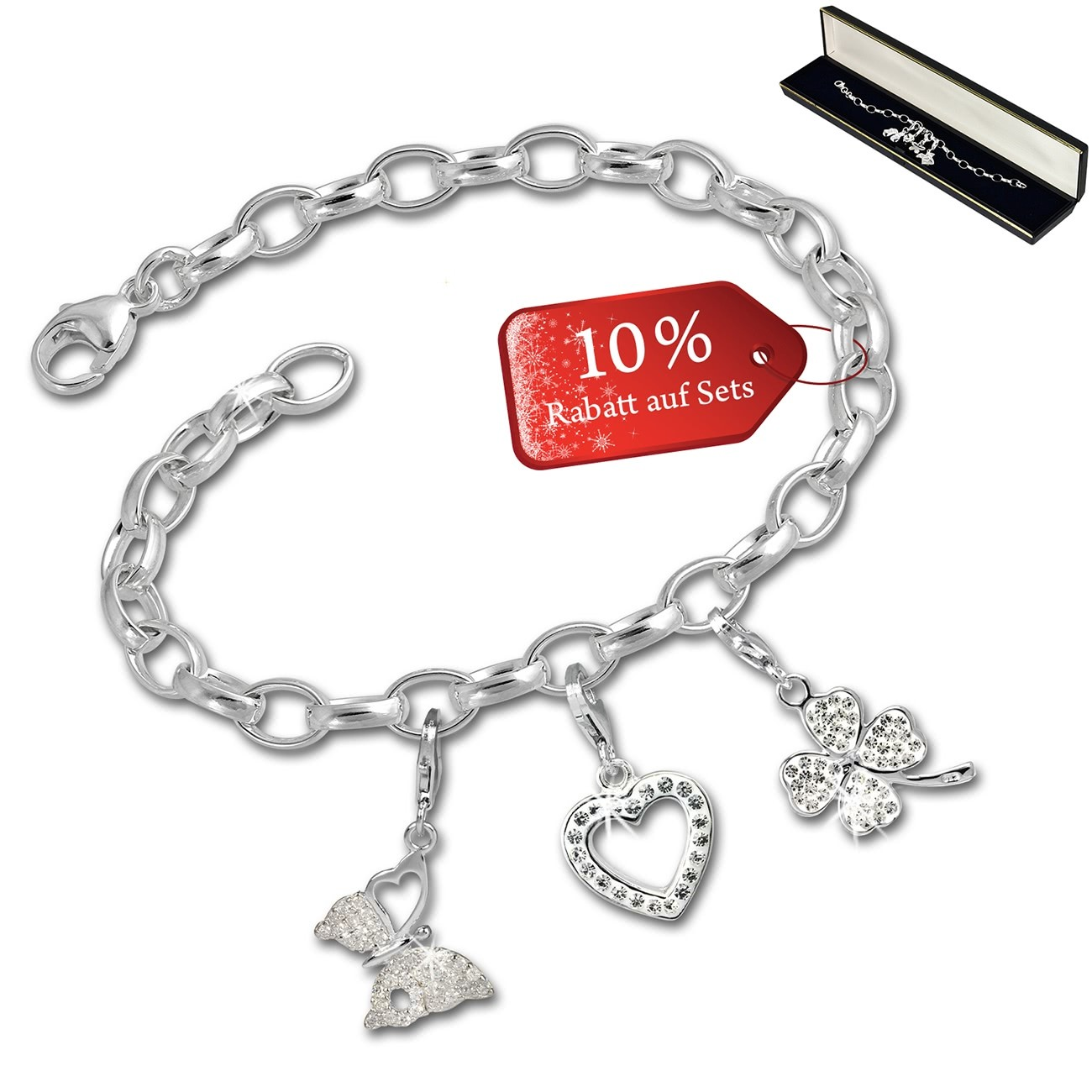 SilberDream Armband Fashion Charm Set Liebe - Glück 925 Anhänger FCA319