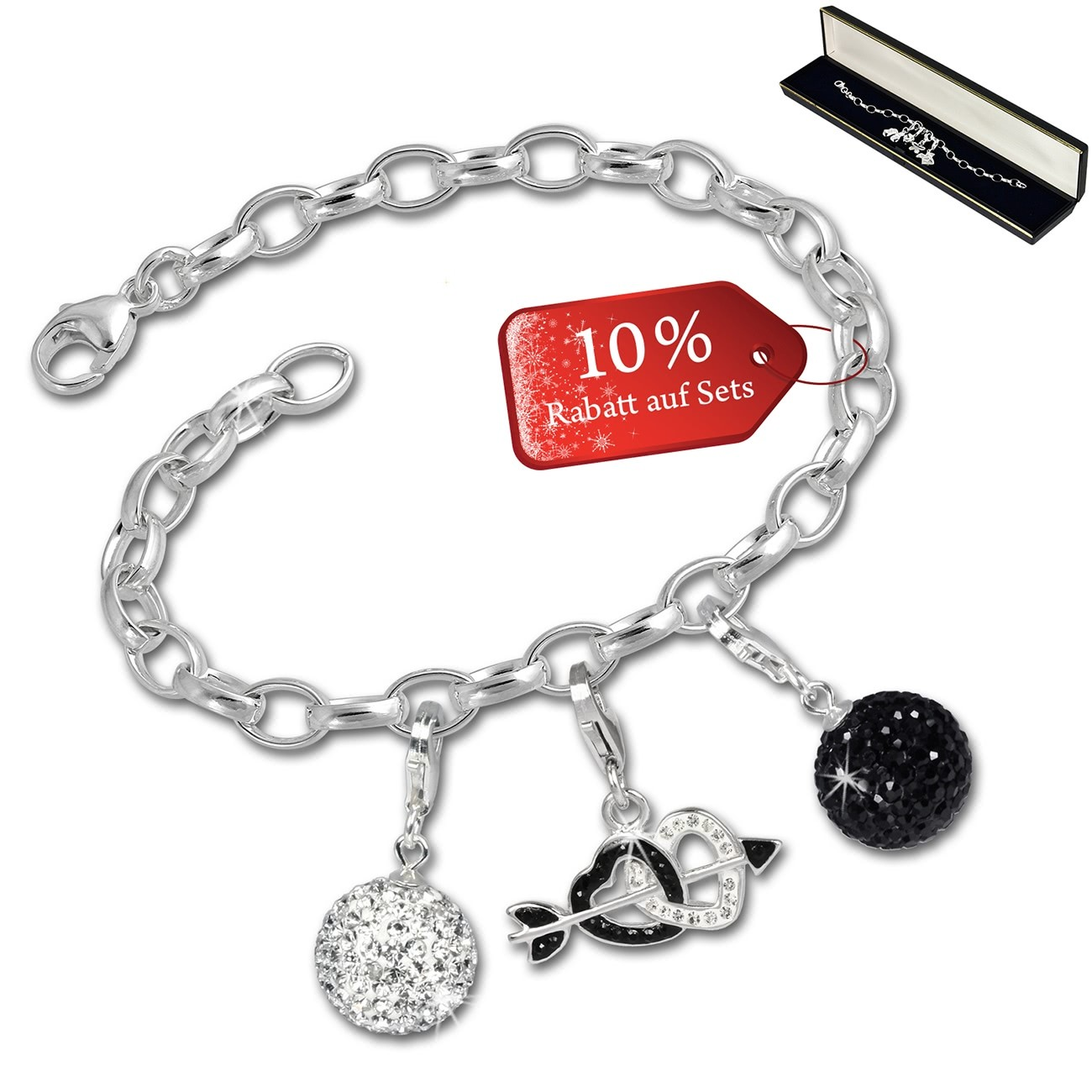 SilberDream Armband Fashion Charm Set Black-White 925er Anhänger FCA320