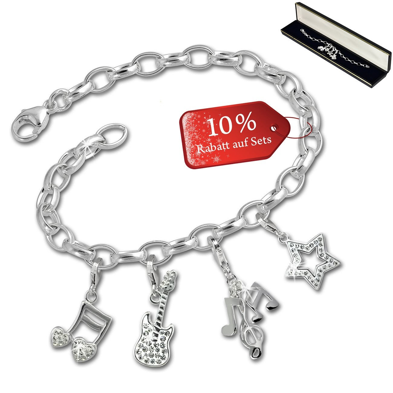 SilberDream Armband Fashion Charm Set Musik 925er Anhänger FCA325