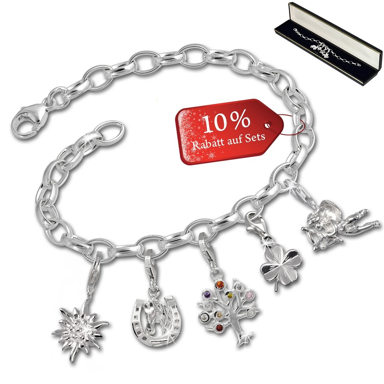 SilberDream Armband Fashion Charm Set Glücksbringer 925 Anhänger FCA330