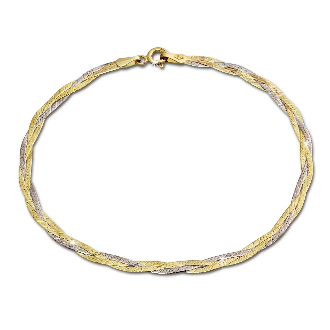 SilberDream Armband Geflochten 333 Gold Damen 19cm 8 Karat GDA0009T
