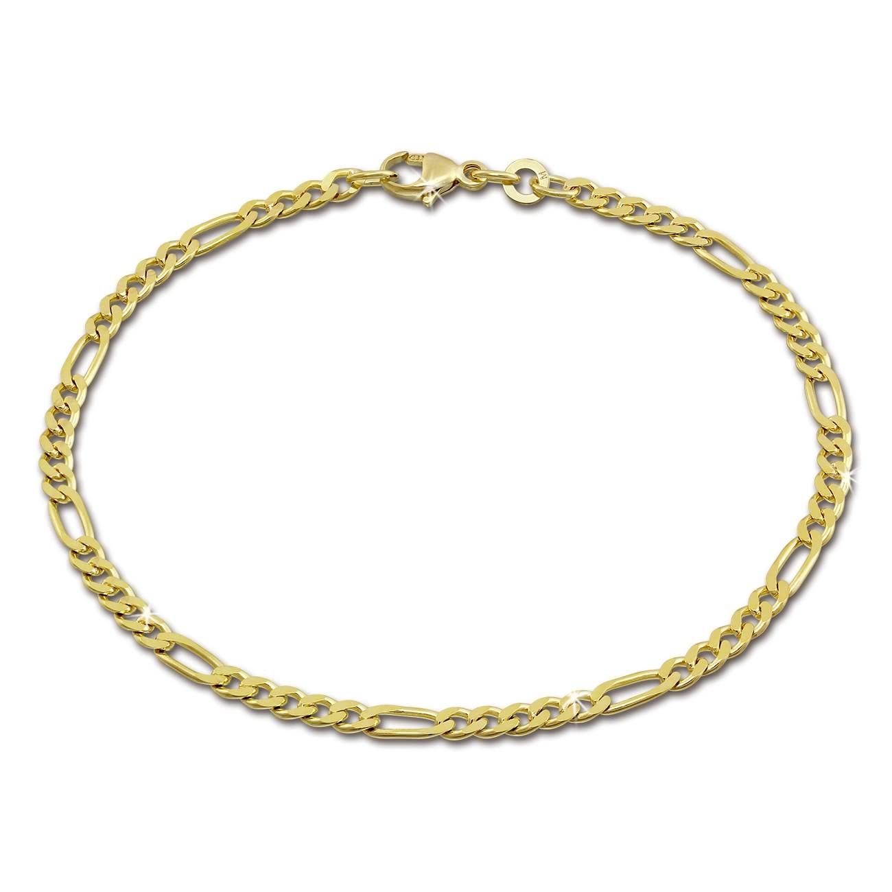 SilberDream Armband Figaro diamantiert 333 Gold 19cm 8 Karat GDA0059Y