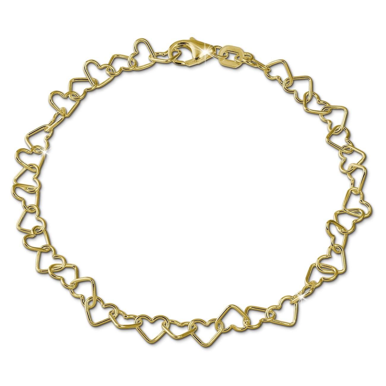 SilberDream Armband Herzchen 333 Gold 18,5cm 8 Karat Damen GDA0148Y