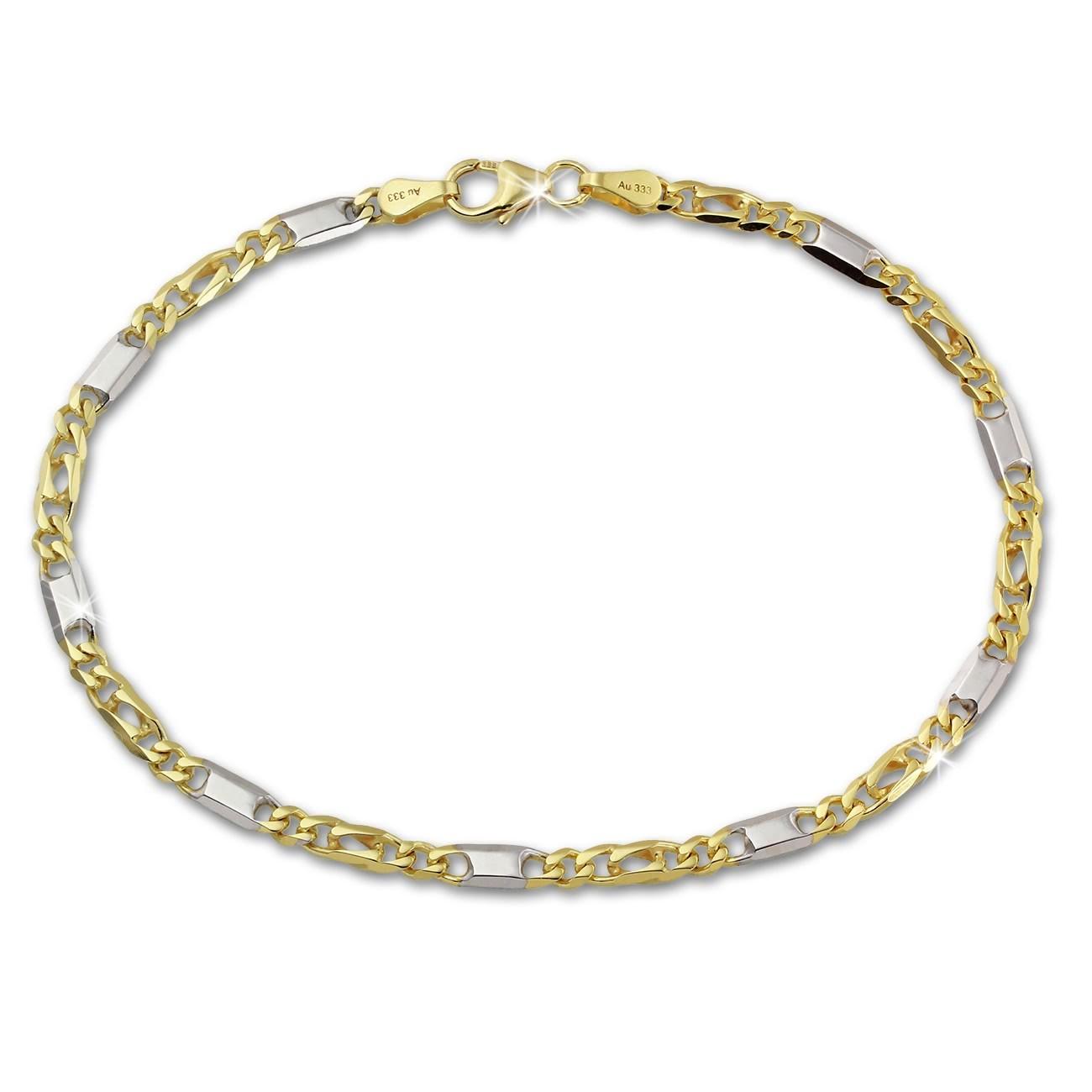 SilberDream Armband Tigerauge bicolor 333 Gold 19cm 8 Karat GDA0279T