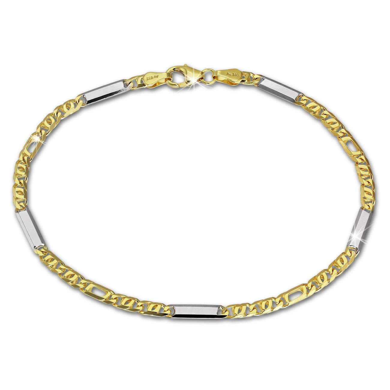 SilberDream Armband Tigerauge bicolor 333 Gold 19cm 8 Karat GDA0289T