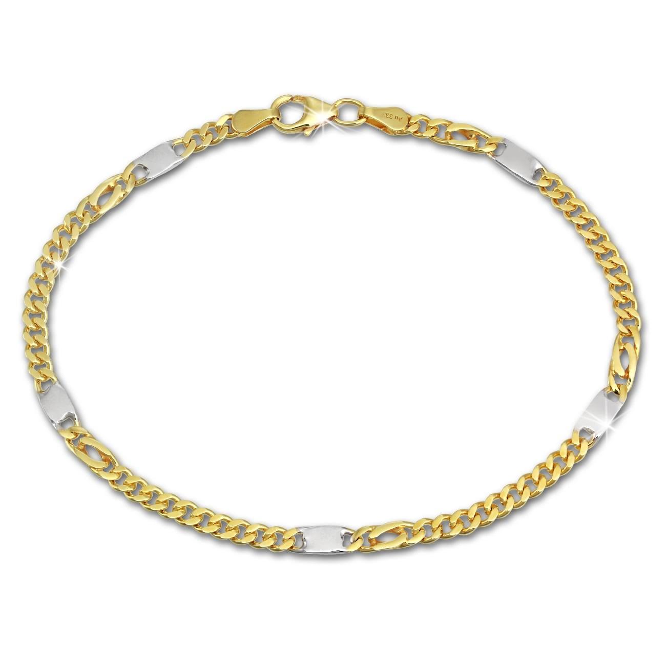 SilberDream Armband Tigerauge bicolor 333 Gold 19cm 8 Karat GDA0299T