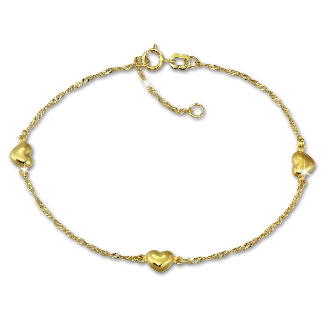 SilberDream Armband Singapur Herz diamantiert 333 Gold 19cm 8 Karat GDA0309Y