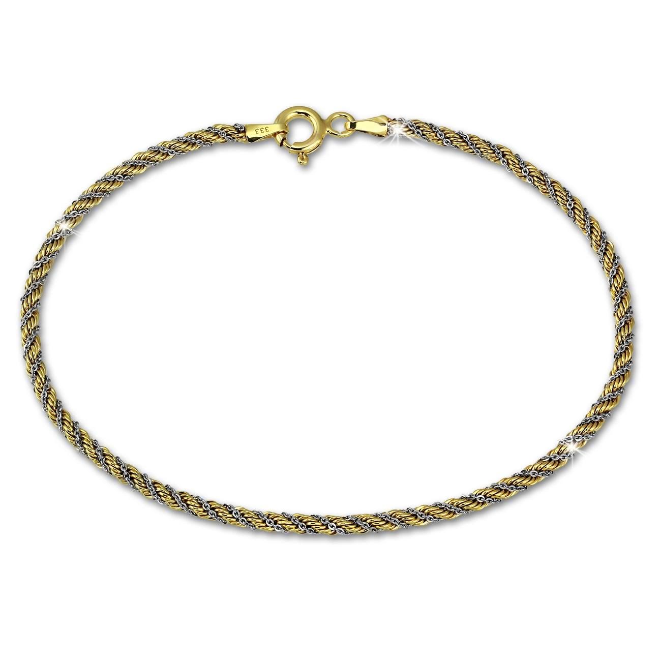 SilberDream Armband Kordel hohl bicolor 333 Gold 18,5cm 8 Karat GDA0388T
