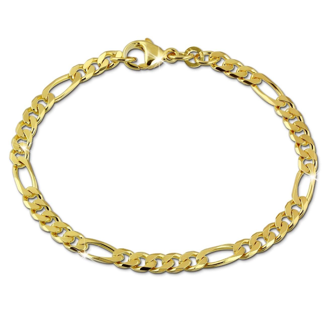 SilberDream Armband Figaro diamantiert 333 Gelbgold Damen 18,7cm GDA0479Y