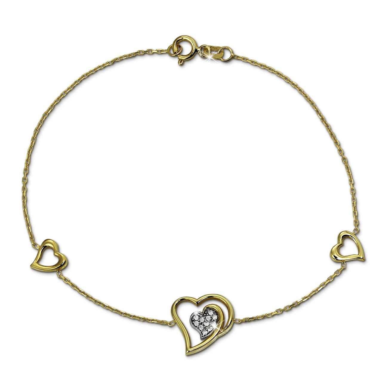 SilberDream Armband Herzen Zirkonia weiß 333 Gold 18,5cm 8 Karat GDA5008Y