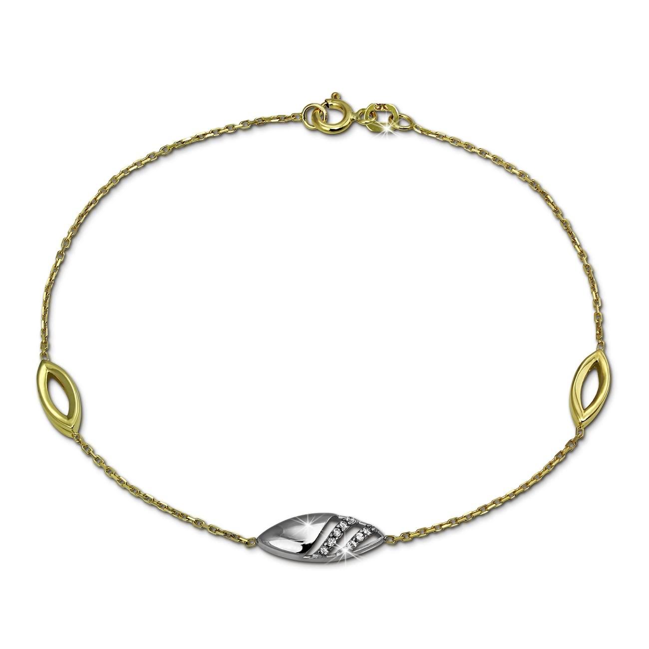 SilberDream Armband Glamour Zirkonia weiß 333 Gold 18,5cm 8 Karat GDA5018T