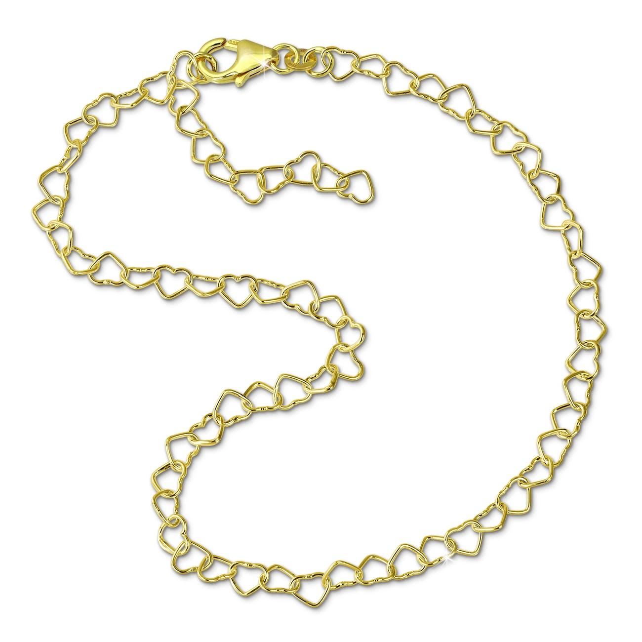 SilberDream Fußkette Herzchen 333 Gold 25cm 8 Karat Damen Echtschmuck GDF0015Y