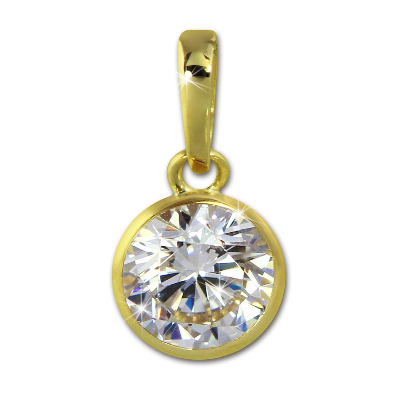 SilberDream Kettenanhänger Zirkonia weiß 375 Gold Anhänger Echtschmuck GDH001Y