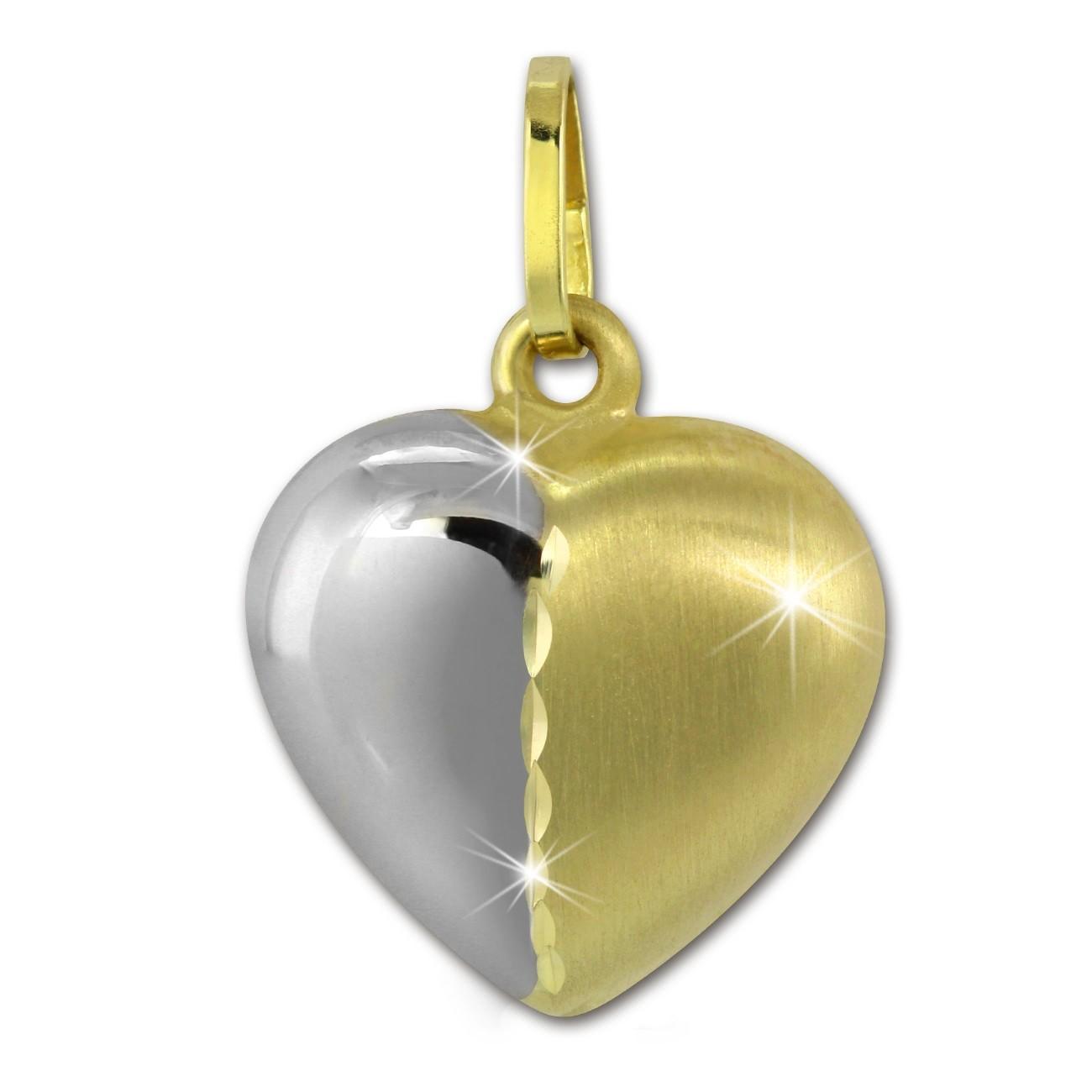 SilberDream Kettenanhänger Herz zweifarbig 375er Gelbgold Echtschmuck GDH004Y