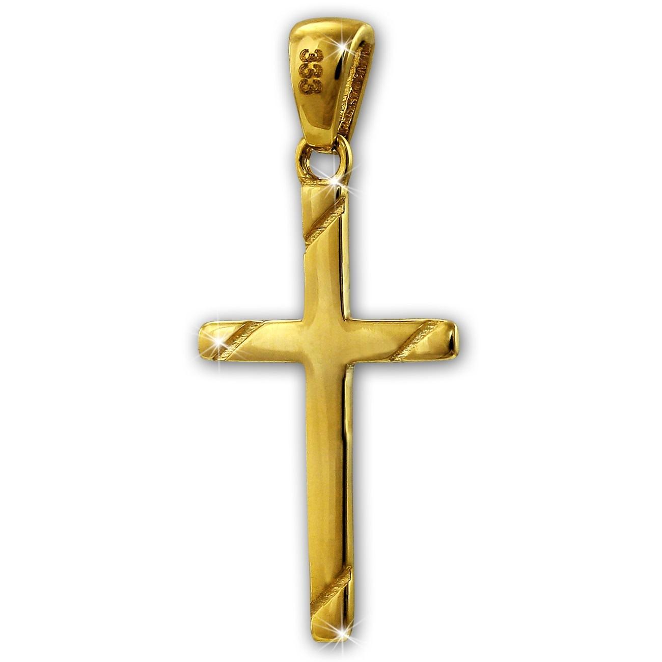SilberDream Kettenanhänger Kreuz 333er Gelbgold Anhänger Echtschmuck GDH503Y