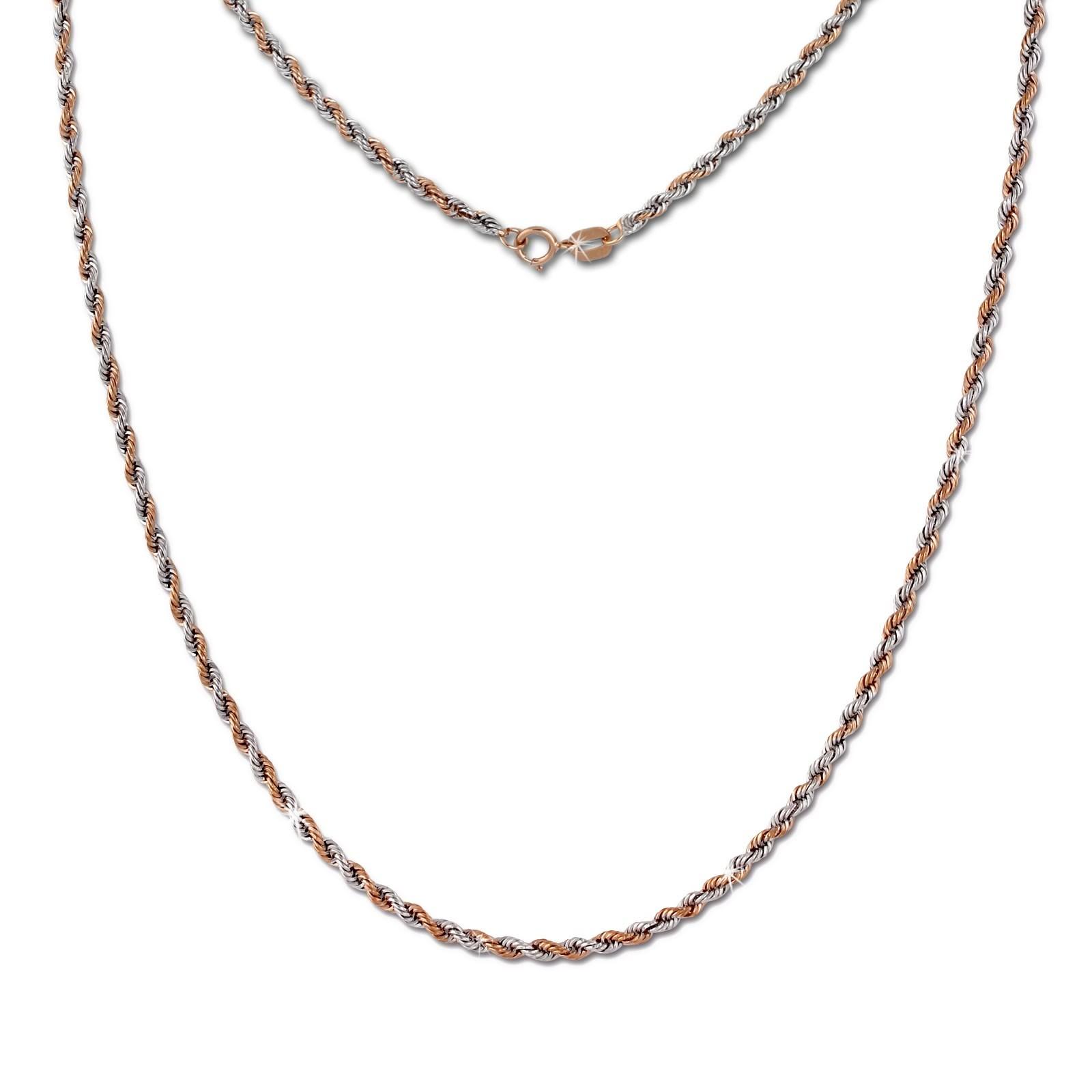 SilberDream Collier Kette Zopf Rose Gold Damen 45cm 8 Karat GDK00245T
