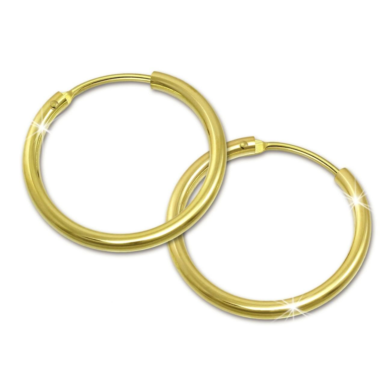 SilberDream Gold Creole 15mm Ohrring 333er Gelbgold Echtschmuck GDO0021Y